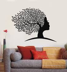 Vinyl Wall Decal Abstract Female Face Women Girl Head Tree Leaves Stic Wallstickers4you