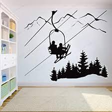 Amazon Com Skiing Wall Sticker Ski Lift Chair Mountain Pine Tree Wall Decal Winter Sports Wall Decor Downhill Art Mural 57x49cm Furniture Decor