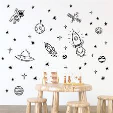 Cartoon Rocket Ship Astronaut Wall Stickers Home Decor Living Room Nursery Accessories Vinyl Wall Decals Diy Mural Art Buy At The Price Of 5 98 In Aliexpress Com Imall Com
