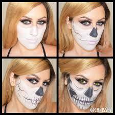half skull halloween look chrisspy
