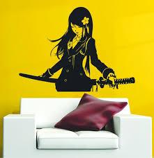 Samurai Schoolgirl Katana Japanese Akai Anime Vinyl Wall Etsy