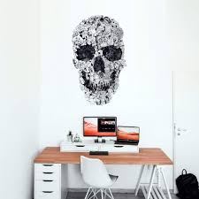 Skull Wall Decal Skull Drawing Wall Sticker Black And White Sugar Sk Ikiiki Shop