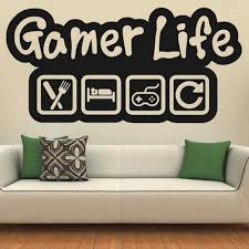Gamer Wall Stickers Game Life Quotes Art Wall Decals House Decorative Kids Boys Room Wallpaper Pattern Removable B253 Wall Stickers Aliexpress
