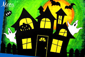 Easy Halloween Pastel Oil Haunted House Craft Mom Does Reviews