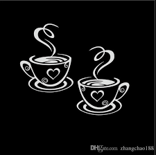 2020 31 27cm Double Coffee Cups Bauty Desigh Tea Cups Decal Vinyl Car Sticker Black Silver Ca 1103 From Zhangchao188 0 34 Dhgate Com