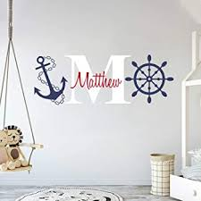 Amazon Com Custom Name Initial Rudder Anchor Nautical Theme Baby Boy Wall Decal Nursery For Home Bedroom Children Am Wide 30 X 11 Height Baby