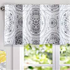 Driftaway Lucia Medallion Pattern Lined Thermal Insulated Energy Saving Window Curtain Valance For Living Room 2 Layers Rod Pocket 52 By 18 Inch Plus 2 Inches Header Gray Walmart Com Walmart Com