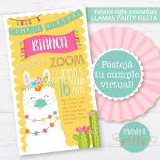 Invitacion Personalizada No Editable Llamas Fiesta Party