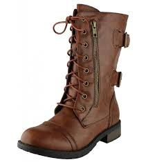 buckle zipper mid calf boot