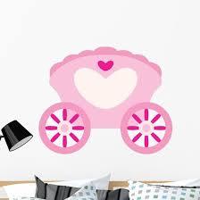 Pink Cinderella Carriage Heart Wall Decal Wallmonkeys Com