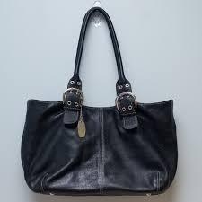 black pebbled leather shoulder bag