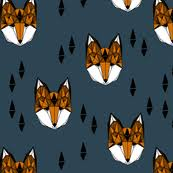 Fox Head Geometric Fox Head Kids Nurs Spoonflower