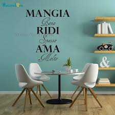 Vinyl Wall Sticker Mangia Bene Ridi Spesso Ama Molto New Design Home Decor For Living Room Bedroom Removable Art Mural Yt551 Wall Stickers Aliexpress