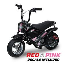 Monster Moto Electric Mini Bike 250watt Black With Red And Pink Decals Walmart Com Walmart Com