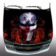 Texas Flag Skull Fire Flames Car Truck Hood Wrap Rapid Grafiks Signs