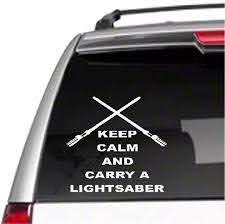 Amazon Com Car Decal Keep Calm And Carry A Lightsaber 3 3 4 X 5 Bumper Sticker For Windows Trucks Cars Laptops Macbooks Etc Home Kitchen