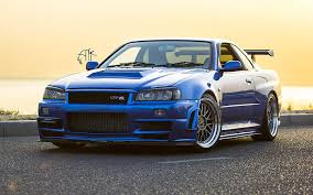 hd wallpaper nissan gtr r34 blue car