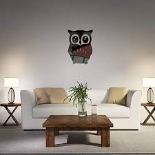 Amazon Com Mirror Decal Stickers Owl Mirror Wall Sticker Animal Acrylic Home Mural Decor Art Home Decal For Bedroom Living Room Bathroom Decoration Nursey Room Removable Waterproof Shockproof Black Home Kitchen