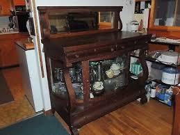 antique oak curved glass china cabinet