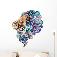 Amazon Com Wallmonkeys Lion With Emerald Mane Wall Decal Peel And Stick Graphic 24 In H X 20 In W Wm301192 Furniture Decor