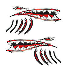 2pcs Shark Teeth Mouth Gill Stickers Decals Kayak Boat Fishing Graphics Ebay