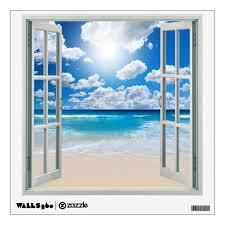 Tropical Beach Clouds Faux Window Wall Decal Zazzle Com