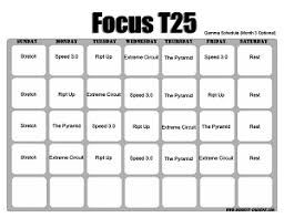 focus t25 workout calendar print a