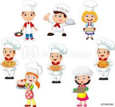 Kolekcja dzieci gotuje szefa kuchni na białym tle #272941342 ...