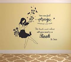 Amazon Com Reading Books Motivation Quotes Wall Sticker Vinyl Decal For Girls Boys Kids Library Bedroom Daycare Nursery Kindergarten Story Fun Home Decor Sticker Wall Art Vinyl Decoration Size 18x20 Inch Arts Crafts