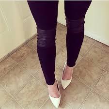 zara jeans faux leather patch skinny