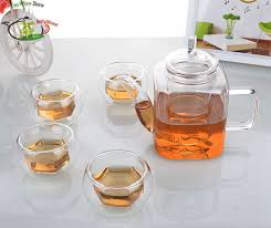 glass tea set 390ml square shaped
