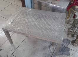 white metal embossed coffee table