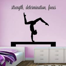 Gymnast Handstand On Beam Strength Determination Focus Wall Decal Vivid Wall Decals Removable Vinyl Gymnastics Bedroom Gymnastics Room Gymnastics Decor