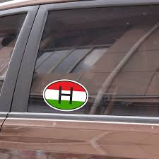 Yjzt 16cm 10 7cm Oval H Hungary Country Code Flag Car Sticker Decal Accessories 6 1503 Leather Bag