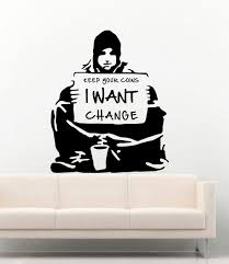 Banksy Vinyl Wall Decal Keep Your Coins Buy Online In Cambodia At Desertcart