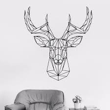 Geometric Deer Head Decal Deer Antlers Hunting Wall Decal Origami Vinyl Sticker Animal Wall Decor Stylish Deco Wish