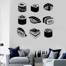 Creative Sushi Wall Decal Vinyl Rice Fish Chopsticks Food Rolls Japan Wall Window Decor Sticker Handmade Decor Wallpaper Cn138 Wall Stickers Aliexpress