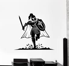 Vinyl Wall Decal Medieval Knight Armor Warrior Shield Sword Helmet Sti Wallstickers4you