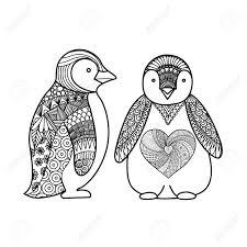 Twee Pinguins Lijnkunst Ontwerp Voor Kleurboek Voor Volwassenen T