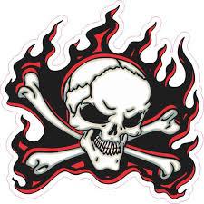12in X 11in Red Flame Skull Bumper Sticker Car Vinyl Truck Window Decal Walmart Com Walmart Com