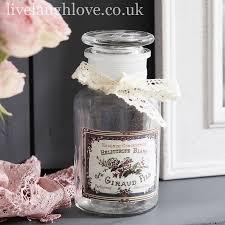 clear glass bottle w lace ribbon bow