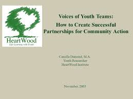 Voices of Youth Teams: How to Create Successful Partnerships for Community  Action November, 2003 Camille Dumond, M.A. Youth Researcher HeartWood  Institute. - ppt download