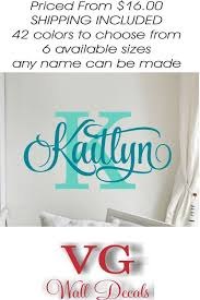 Personalized Name Wall Decal Girl Monogram Initial Swirly Name Decal Wall Decor Vinyl Lettering Gold Coral 42 Available Matte Colors Name Wall Decals Lettering Wall Decals