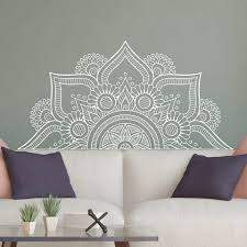 New Design Half Mandala Wall Stickers For Bedroom Home Decor Headboard Vinyl Wall Decals Flower Mandala Yoga Room Murals Lc1196 Wall Stickers Aliexpress