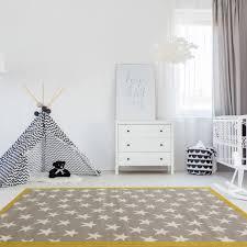 Amazon Com 100 Stars Colourful Kids Grey Ochre Designer Childrens Floor Play Area Rug Mat 3 11 X 5 7 Furniture Decor