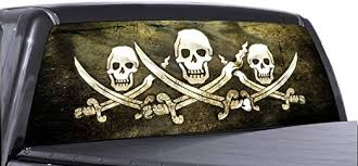 Amazon Com Vuscapes Pirate Flag Rear Window Truck Graphic Decal Suv View Thru Vinyl Automotive