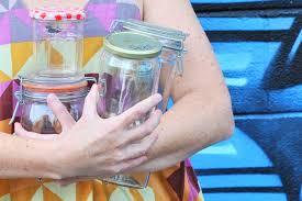 sticky labels off glass jars
