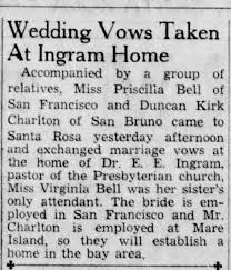 Wedding vows for Priscilla Bell and Duncan Kirk Charlton - Newspapers.com