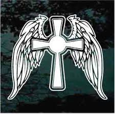 Cross With Angel Wings Car Decals Window Stickers Decal Junky