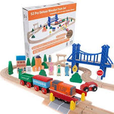 orbrium toys 52 pcs deluxe wooden train